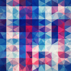 Background of pink, blue, purple geometric shapes. Abstract triangle geometrical background. Mosaic pattern. Vector EPS 10. Vector illustration