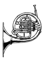 illustration of french horn