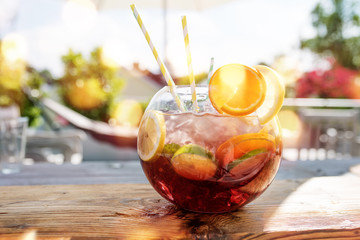 Sangria punch in summer