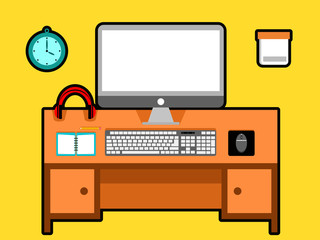Computer Vector in workspace with cartoon style