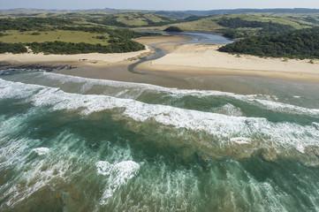 Aerial view of a Wild Coast estuary