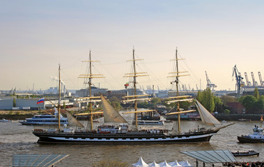 "Four-masted russian barque ""Kruzenshtern"" at Hamburg port birthday parade"