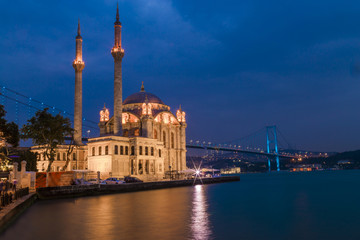 Ortakoy Mosque During the Ramadan time with twilight