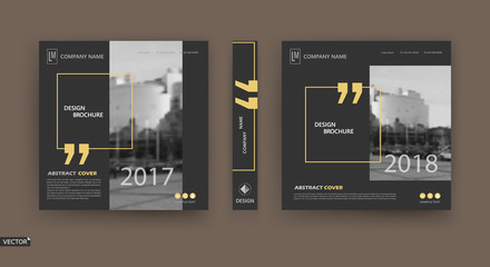 Abstract patch brochure cover design. Black info data banner frame. Techno title sheet model set. Modern vector front page art. Urban city blurb texture.Yellow citation figure icon. Ad flyer text font Wall mural