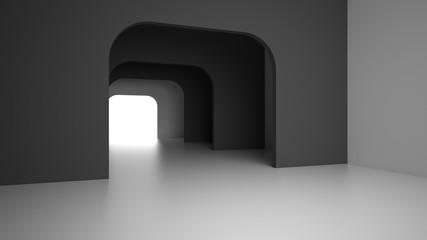Empty dark modern interior with bright light from exit door. 3D rendering.