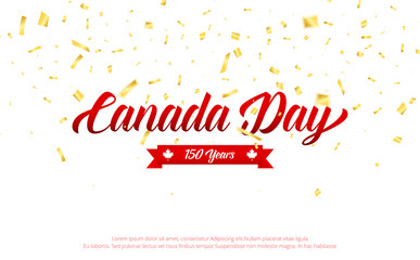 Canada Day. Canada 150 Years anniversary banner with gold falling confetti. Canada Independence Day