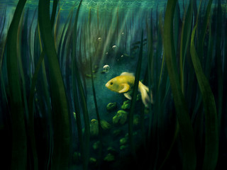 Little yellow fish alone in an underwater scenery - digital painting