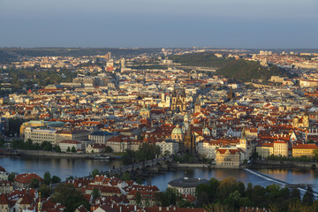 View over Prague seen from the Petrin Tower, Prague, Czech Republic..