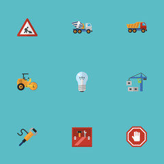 Flat Icons Bulb, Hoisting Machine, Toolkit And Other Vector Elements. Set Of Industry Flat Icons Symbols Also Includes Equipment, Jackhammer, Workman Objects.