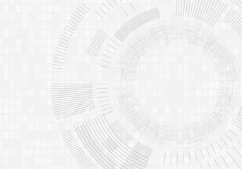 Technology background with lines circles image light gray. Vector.