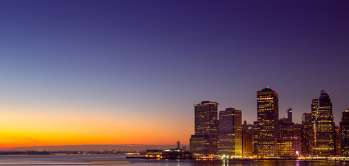 NEW YORK - 20 DECEMBER, 2016: Amazing Manhattan Skyline at Sunset, seen from Brooklyn Height Promenade, Panoramic View, Wallpaper