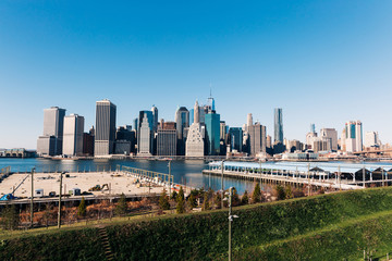 Panoramic View of Lower Manhattan Skyline from Brooklyn Bridge Park