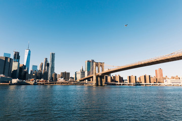 Brooklyn Bridge in New York City, Panoramic View of Manhattan, Free Space for Text