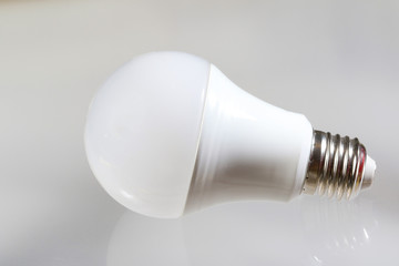 Led light bulb on the white