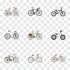 Realistic Brand , Working , Journey Bike Vector Elements. Set Of Bicycle Realistic Symbols Also Includes Extreme, Balance, Postman Objects.
