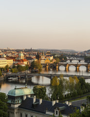 Skyline of Prague with a view of the River Vltava and bridges seen from Letna hill, Czech Republic.