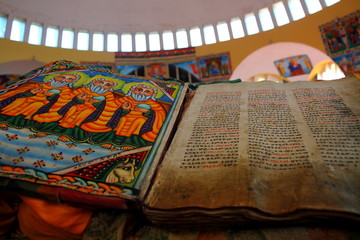Beautiful Illustrated Ancient Bible in Ethiopian Church