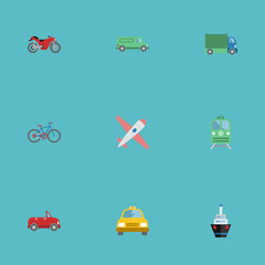 Flat Icons Boat, Carriage, Aircraft And Other Vector Elements. Set Of Transport Flat Icons Symbols Also Includes Van, Airplane, Motorbike Objects.