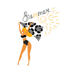 Girl in bikini vector illustration for banner, summer party.