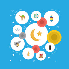 Flat Icons Artillery, Arabic Calligraphy, Islamic Lamp And Other Vector Elements. Set Of Ramadan Flat Icons Symbols Also Includes Lantern, Arabian, Pitcher Objects.