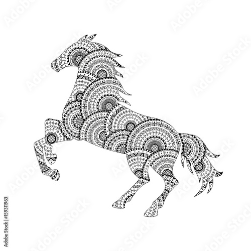 Vector illustration of horse silhouette from black and white ...