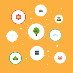 Flat Icons Eco Energy, Electric Mill, Beauty Insect And Other Vector Elements. Set Of Nature Flat Icons Symbols Also Includes Mill, Beautiful, Eco Objects.
