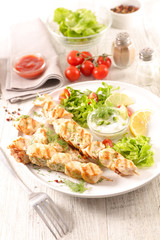 fried chicken skewer and lettuce