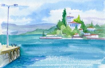Beautiful watercolor landscape. View of the sea, green shore and port. Sevastopol, Crimea.