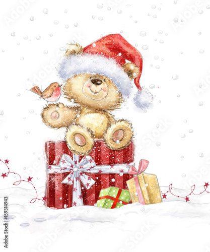 Christmas Wishes Bear.Cute Teddy Bear With Christmas Gifts In The Santa Hat Hand