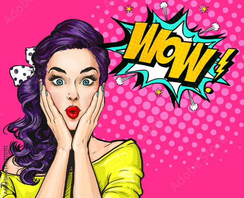 pop art illustration surprised girl comic woman wow advertising poster pop art girl party. Black Bedroom Furniture Sets. Home Design Ideas