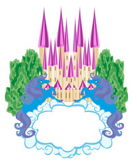 Fairytale frame with magic castle and unicorns