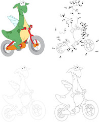 A happy green dragon riding a bicycle. Dot to dot game for kids
