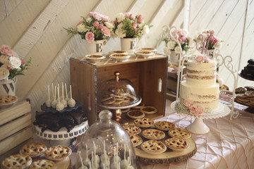 Pink and White Wedding Dessert Bar