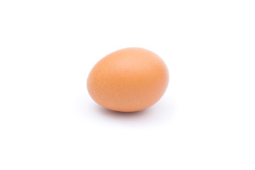 Single brown chicken egg isolated on white background