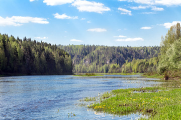 Ural Summer landscape. The Chusovaya river in summer Sunny day. Russia. Ural