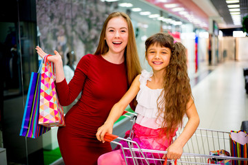 Mother shopping with daughter
