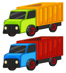 Colorful trucks on white background