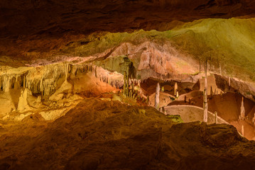 Stalactites and stalagmites of Can Marca Cave, Ibiza, Spain