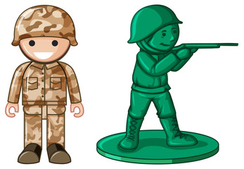 Two designs of plastic toy soldier