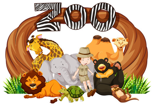 Zookeeper and wild animals at zoo entrance