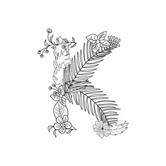 Tropical floral summer pattern hand drawn ornamental font with palm beach leaves, flower. Letter K
