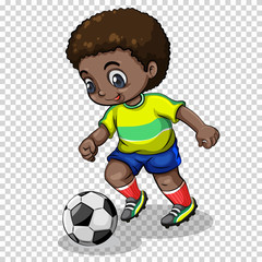 Football player playing football on transparent background