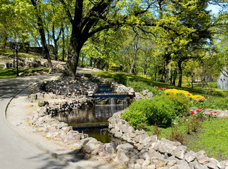 Cascade falls and landscaping on a bastionny hill in Riga.
