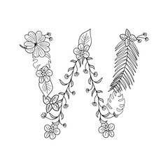 Tropical floral summer pattern hand drawn ornamental font with palm beach leaves, flower. Letter W