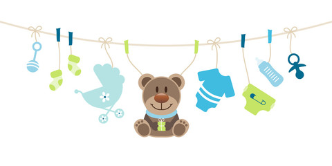 Boy Baby Symbols Teddy