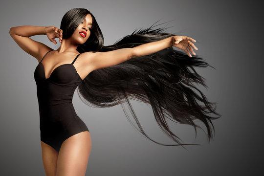 beuaty black woman in wig