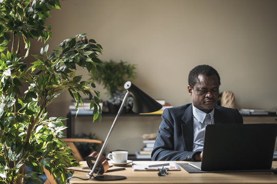 Middle-aged African businessman sitting at office and working.