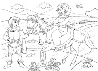 Fairy tale. Coloring book. Coloring page. Cute and funny cartoon characters