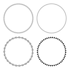 Decorative round frames for congratulations and greeting cards. Set isolated on white background.
