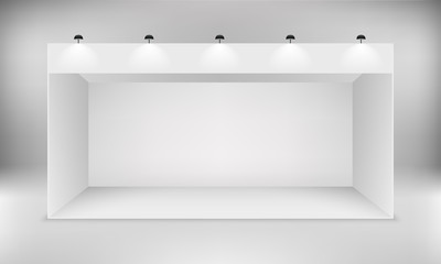 Exhibition Booth Blank : Blank empty exhibition booth copy space stock illustration